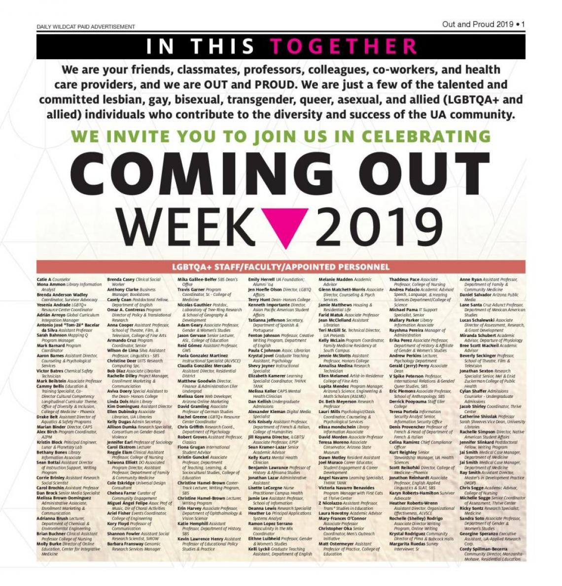 List full of faculty/staff who supported Coming Out Week 2019
