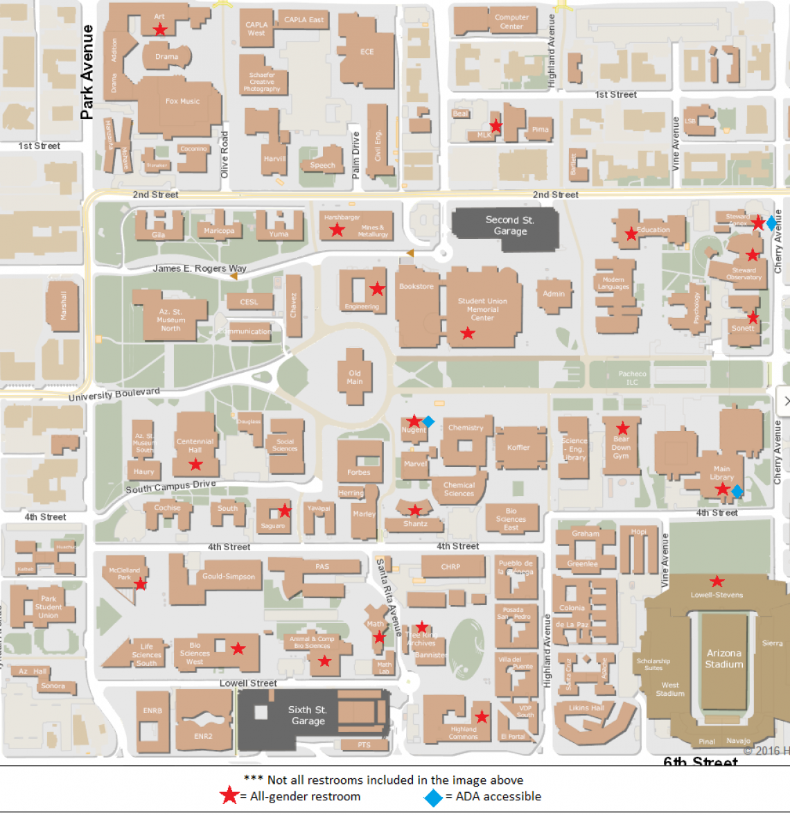 UArizona campus map showing all gender facilities