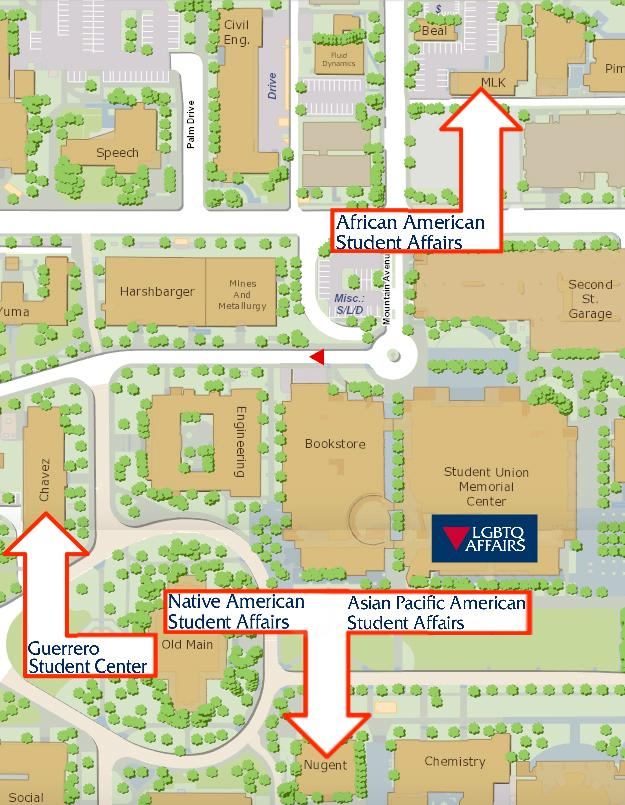 Map denoting the cultural center locations on campus