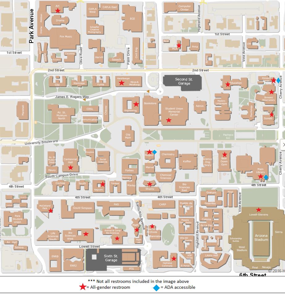 UArizona campus map showing all gender facilities